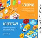 online 24 7 shopping isometric... | Shutterstock .eps vector #731923654