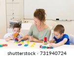 teacher woman learn two... | Shutterstock . vector #731940724