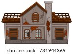 old brick house in bad... | Shutterstock .eps vector #731944369