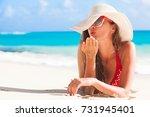 long haired girl in bikini and... | Shutterstock . vector #731945401