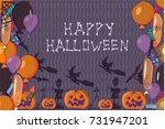 vector halloween banner. hand... | Shutterstock .eps vector #731947201