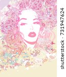 abstract beautiful woman... | Shutterstock . vector #731947624