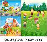 happy kids playing in... | Shutterstock .eps vector #731947681