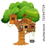 treehouse with swing on the... | Shutterstock .eps vector #731947729