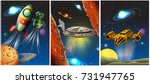 three scenes with spaceship and ... | Shutterstock .eps vector #731947765