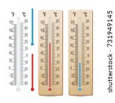 thermometer vector. outdoor ... | Shutterstock .eps vector #731949145