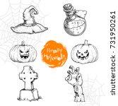 hand drawn sketch halloween... | Shutterstock .eps vector #731950261