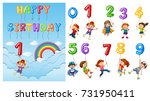children with numbers and... | Shutterstock .eps vector #731950411