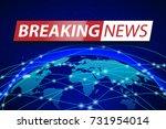 breaking news live on blue...   Shutterstock .eps vector #731954014
