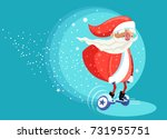 modern santa clause riding... | Shutterstock .eps vector #731955751