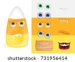 cute halloween candy corn... | Shutterstock .eps vector #731956414