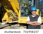 senior engineer with hard hat... | Shutterstock . vector #731958157