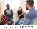meeting of support group. young ... | Shutterstock . vector #731962321