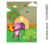 cute purple dog playing... | Shutterstock .eps vector #731965885