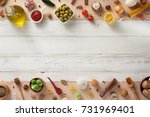 spice and herbs ingredients at... | Shutterstock . vector #731969401