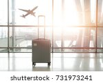 traveling luggage in airport... | Shutterstock . vector #731973241