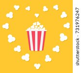 popcorn popping in heart frame. ... | Shutterstock .eps vector #731976247