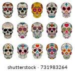 set of sugar skulls... | Shutterstock .eps vector #731983264