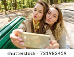 two young girls having fun and... | Shutterstock . vector #731983459