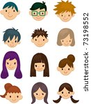 cartoon young people face icon