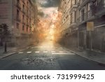 view of destruction city with... | Shutterstock . vector #731999425