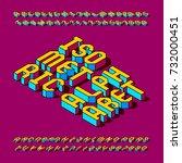 isometric alphabet font.... | Shutterstock .eps vector #732000451