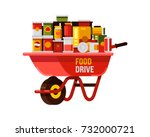 food drive with red wheelbarrow ... | Shutterstock .eps vector #732000721