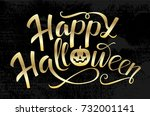 happy halloween gold vector... | Shutterstock .eps vector #732001141