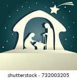 nativity scene with holy family | Shutterstock .eps vector #732003205