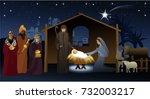 nativity scene with holy family | Shutterstock .eps vector #732003217