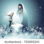 nativity scene with holy family | Shutterstock .eps vector #732003241
