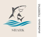 Icon Of Smiling Shark With Sea...