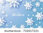 origami snowfall. merry... | Shutterstock .eps vector #732017221