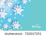 origami snowfall. merry... | Shutterstock .eps vector #732017251