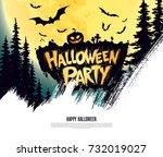 halloween party. vector... | Shutterstock .eps vector #732019027