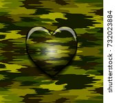 military camouflage heart | Shutterstock . vector #732023884