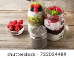 chia pudding with berries in... | Shutterstock . vector #732034489