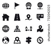 16 vector icon set   globe ... | Shutterstock .eps vector #732042025