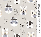 seamless childish pattern with... | Shutterstock .eps vector #732052309