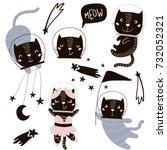 circus cats astronauts vector... | Shutterstock .eps vector #732052321