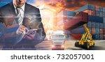 businessman trading stocks... | Shutterstock . vector #732057001