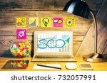creative designer desktop with... | Shutterstock . vector #732057991