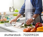 man cooking in the kitchen and... | Shutterstock . vector #732059224