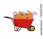 santa claus wheelbarrow cookies ... | Shutterstock .eps vector #732061924