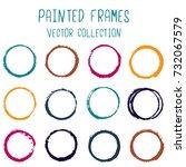 round paint brush stroke vector ... | Shutterstock .eps vector #732067579