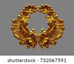 golden ornamental emblem  3d... | Shutterstock . vector #732067591