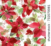 christmas winter poinsettia... | Shutterstock .eps vector #732070081