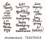 happy thanksgiving hand drawn... | Shutterstock .eps vector #732070315
