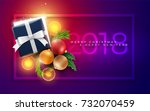 christmas and new year greeting ... | Shutterstock .eps vector #732070459