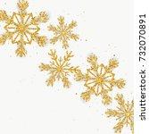 golden glitter snowflakes... | Shutterstock .eps vector #732070891